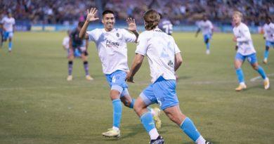Cal Jennings and Alvaro Quezada of Las Vegas Lights FC