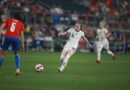 Rose Lavelle of the USWNT passes the ball