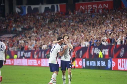 Brenden Aaronson celebrates his goal with a teammate / Image courtesy EM Dash Photos